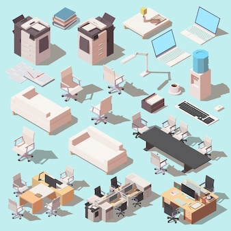 Isometrische set van pictogrammen voor kantoorapparatuur en meubels.
