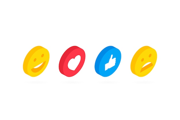 Isometrische set van schattige smiley emoticons, emoji plat ontwerp. moderne illustratie