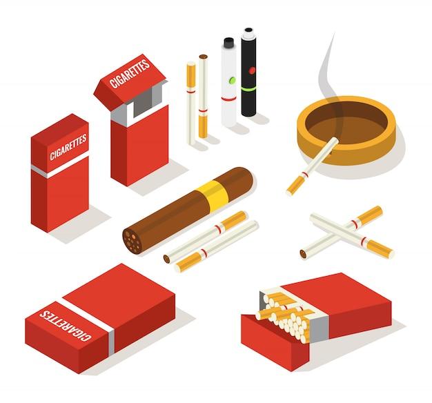 Isometrische set van sigaretten, sigaar, vape