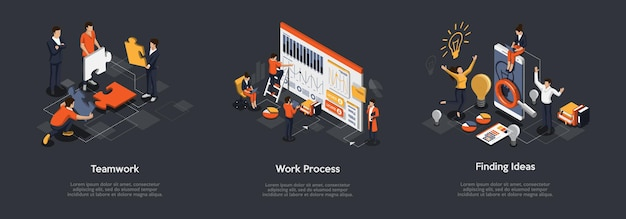 Isometrische set van teamwerkproces, werkproces en het vinden van ideeën concept.