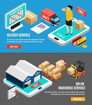 Isometrische set van twee horizontale logistiek isometrische banners met online levering en magazijndiensten 3d