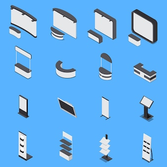 Isometrische set van verschillende beursstands en planken geïsoleerd op blauwe achtergrond 3d