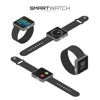 Isometrische set van verschillende soorten slimme horloges.