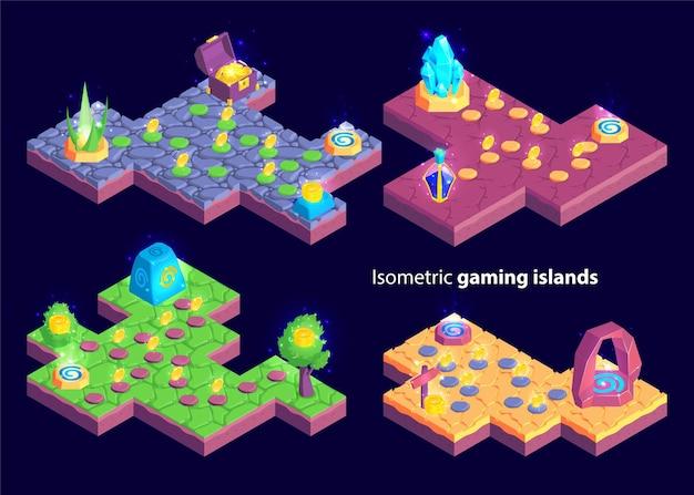 Isometrische set van vier geïsoleerde spelniveaus met eilandvormige kaarten en planten met schatgoederen