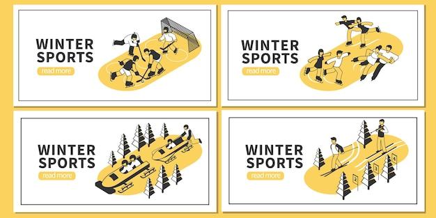 Isometrische set van vier horizontale banners met wintersport hockey kunstschaatsen skiën bobsleeën wedstrijden 3d geïsoleerd