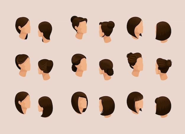 Isometrische set van vrouwelijk haar stijlen man's hoofd.