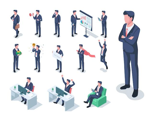 Isometrische set van zakenman illustratie