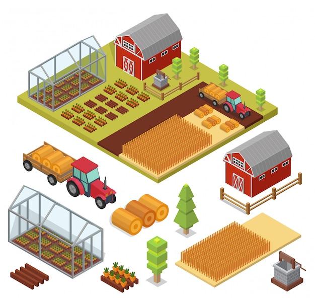 Isometrische set vector boerderij elementen.