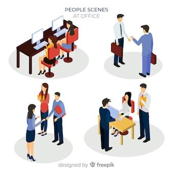 Isometrische situaties op de kantoorcollectie