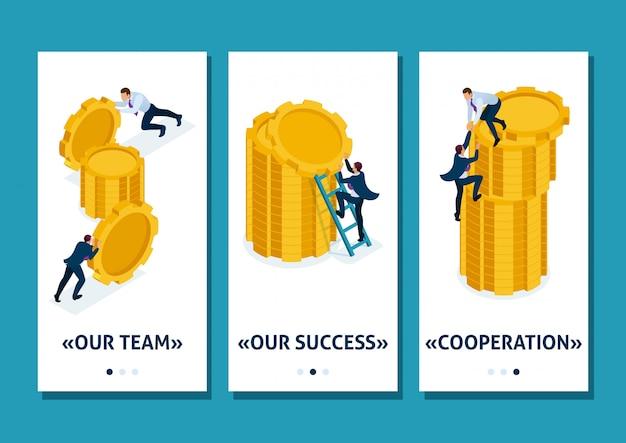 Isometrische sjabloon-app bedrijfsinvesteringen in bedrijfsontwikkeling, ondernemers bouwen besparingen op, smartphone-apps. gemakkelijk te bewerken en aan te passen