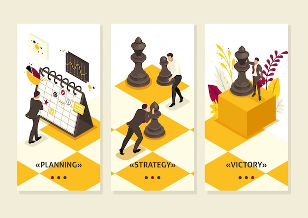 Isometrische sjabloon app concept strategische bedrijfsplanning, teamwerk, smartphone-apps