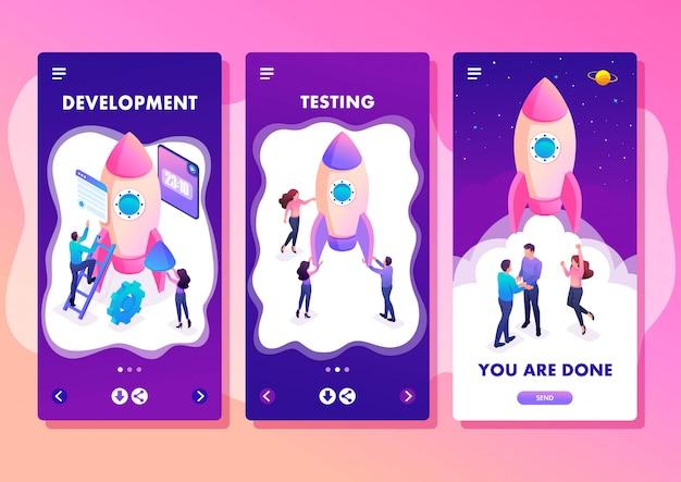 Isometrische sjabloon app helder concept start een nieuw bedrijf door jonge ondernemers, smartphone-apps