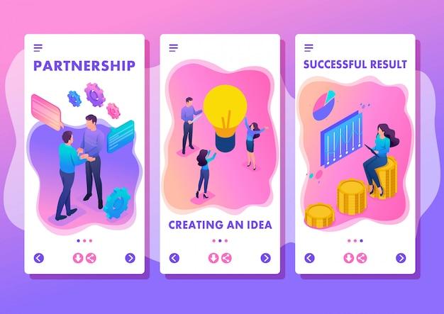 Isometrische sjabloon-app helder concept teamwerk om een oplossing te maken, smartphone-apps