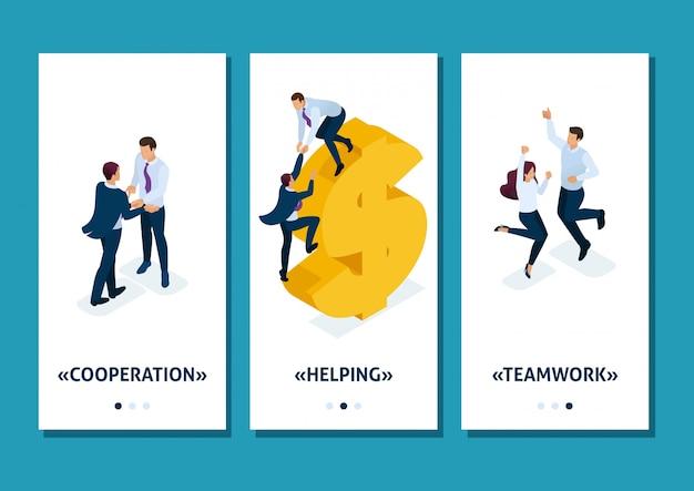 Isometrische sjabloon app helpende hand. grote bedrijven helpen bij de ontwikkeling van kleine bedrijven, smartphone-apps. gemakkelijk te bewerken en aan te passen