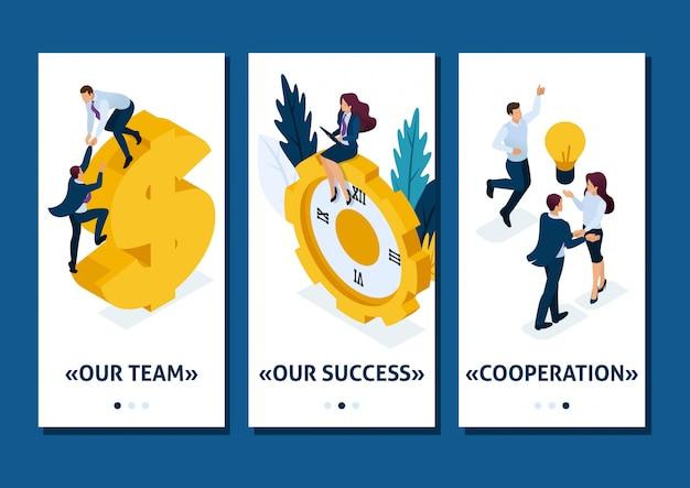 Isometrische sjabloon-app het is tijd voor actie. zakenlieden klimmen de klok, samenwerking voor succes, smartphone-apps. gemakkelijk te bewerken en aan te passen