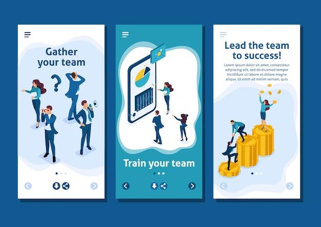 Isometrische sjabloon-app het succes van een goed zakelijk team