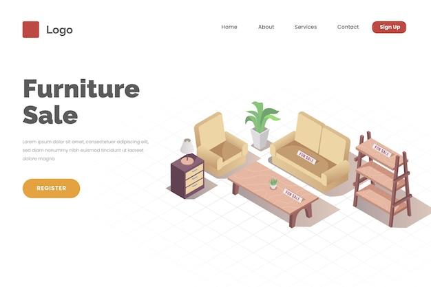 Isometrische sjabloon voor bestemmingspagina's voor meubelverkoop
