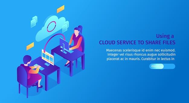 Isometrische sjabloon voor spandoek van cloudservice