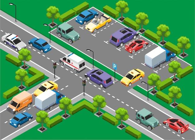Isometrische sjabloon voor stadsverkeer