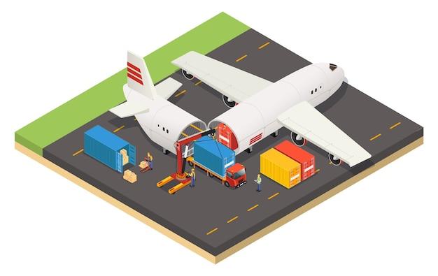 Isometrische sjabloon voor verzending van vliegtuigen