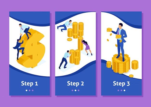 Isometrische sjabloonapp microfinancieringsorganisatie, grote zakenman die veel geld vasthoudt, smartphone-apps. gemakkelijk te bewerken en aan te passen