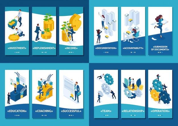 Isometrische sjabloonapp voorbereiding van auditrapporten, teamwerk, kapitaalinvestering, onderwijs voor succes
