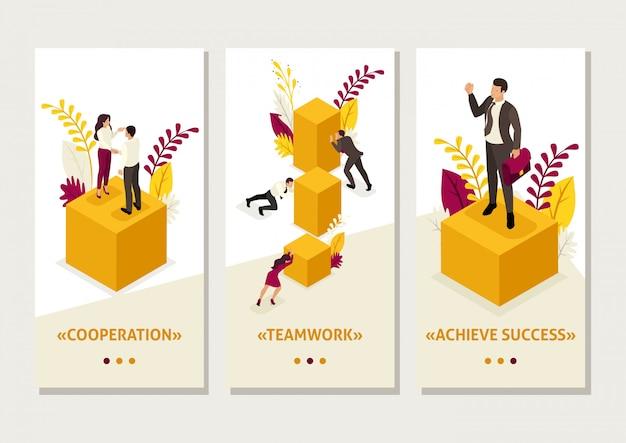 Isometrische sjabloonapp zakenlieden effenen de weg naar succes, zakelijke oplossing, smartphone-apps