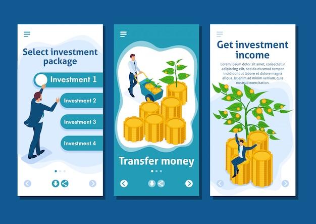 Isometrische sjabloonapp zakenlieden investeren geld en helpen hen groeien en winst maken, smartphone-apps