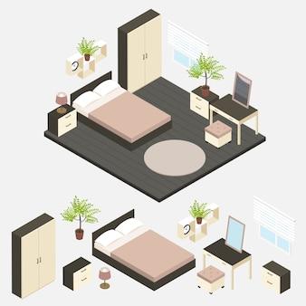 Isometrische slaapkamer interieur samenstelling