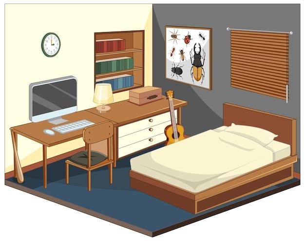 Isometrische slaapkamer met meubels