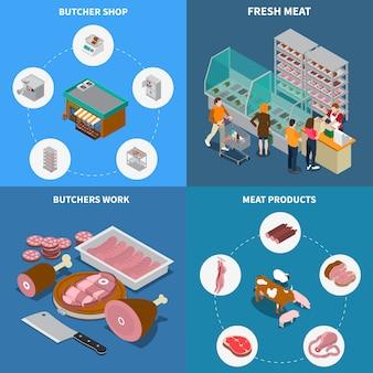 Isometrische slagerij ontwerpconcept