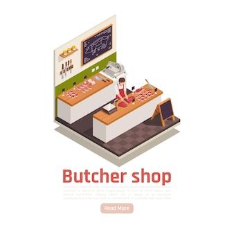 Isometrische slagerij sjabloon voor spandoek