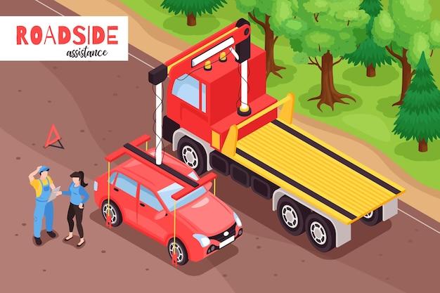 Isometrische sleepwagenillustratie met openluchtlandschap van auto die op vrachtwagenvoertuig met tekst wordt geladen