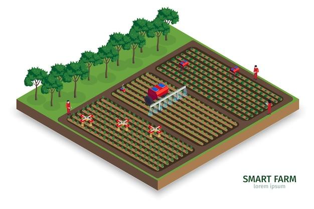 Isometrische slimme boerderijsamenstelling met buitenaanzicht van plantages met bomenmensen en geautomatiseerde drones-tractoren