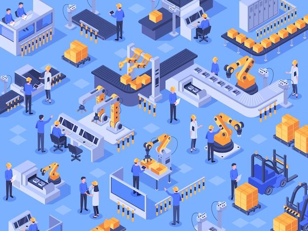 Isometrische slimme industriële fabriek. geautomatiseerde productielijn, automatiseringsindustrie en fabrieken ingenieur werknemers vector illustratie