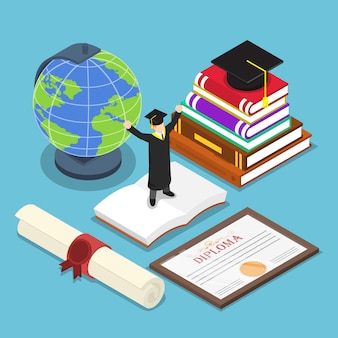 Isometrische slimme mensen in pak afstuderen