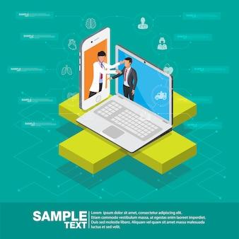 Isometrische slimme mobiele illustratie van het gezondheids 3d ontwerp - volg uw gezondheidstoestand door apparaten