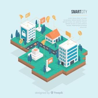 Isometrische slimme stad achtergrond sjabloon
