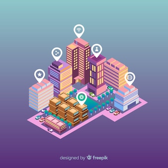 Isometrische slimme stad achtergrond