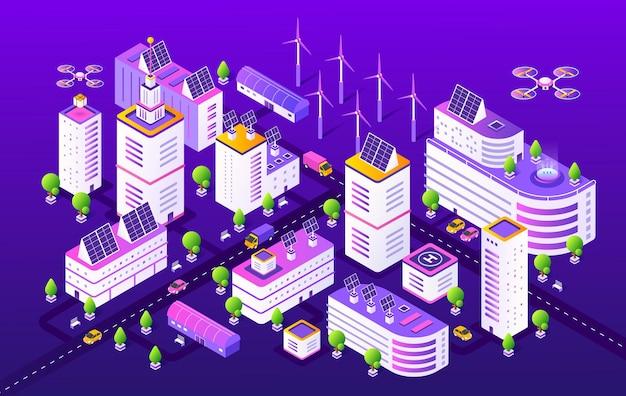 Isometrische slimme stad illustratie