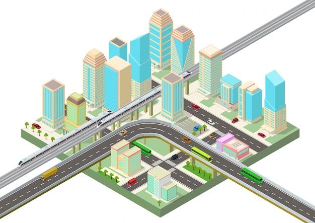 Isometrische slimme stad met wolkenkrabbers, snelweg en transport