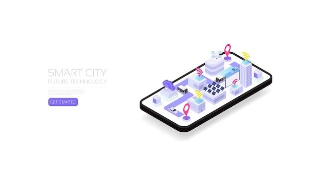 Isometrische slimme stad, toekomstige technologie voor slim leven