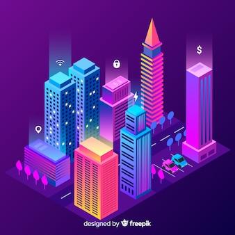 Isometrische slimme stad