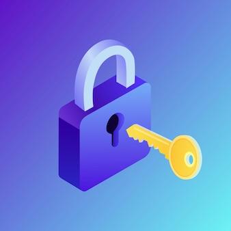 Isometrische slot en sleutel illustratie