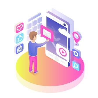 Isometrische smartphone-gebruiker
