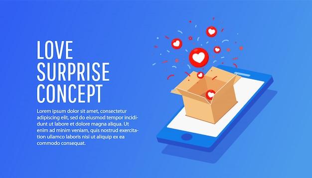 Isometrische smartphone met ambachtelijke papier geschenk vak illustratie