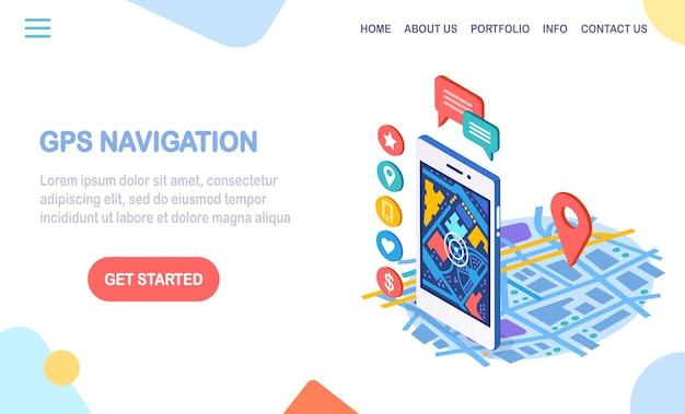Isometrische smartphone met gps-navigatie-app, tracking. mobiele telefoon met kaarttoepassing