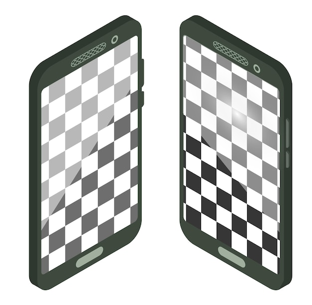 Isometrische smartphone met leeg scherm. realistisch smartphonemodel. device ui, ux mockup voor presentatiesjabloon. mobiele telefoon frame met lege display geïsoleerde sjablonen. vector