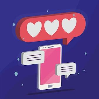 Isometrische smartphone met media bubbels