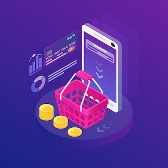 Isometrische smartphone met melding op het scherm